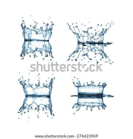 Water splashes collection isolated on a white background  - stock photo