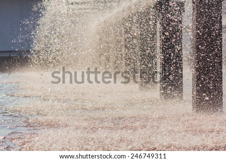 Water splashes from treatment, Spray pond. - stock photo