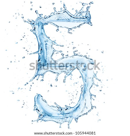"Water splashes number ""5"" isolated on white background"