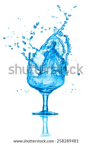 Water splashes out riding on a white background. - stock photo