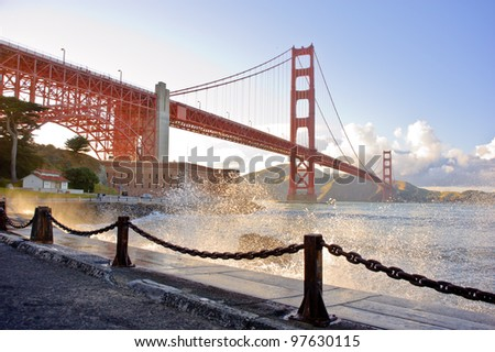 Water splashing at Golden Gate Bridge - stock photo