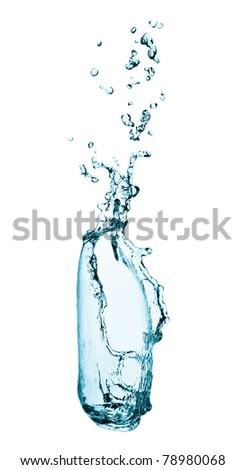 water splashing  close up isolated on white background - stock photo