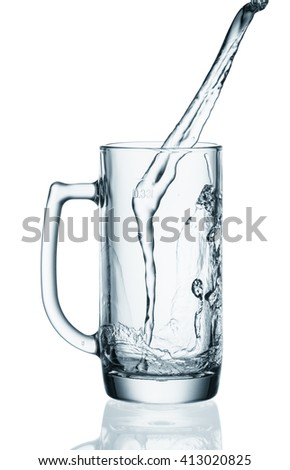 water splashing from glass isolated on white background