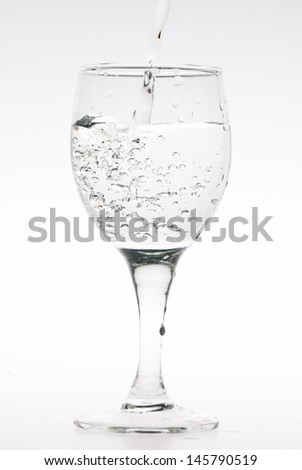water splashing from goblet isolated on white background