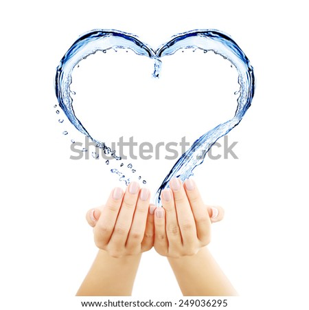 Water splashing shaped as heart frame in hands isolated on white - stock photo