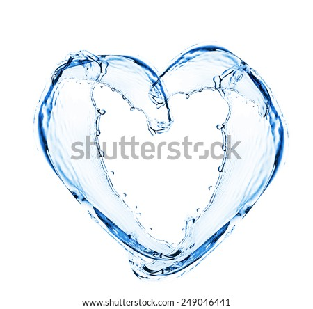 Heart Water Splash Bubbles Isolated On Stock Photo
