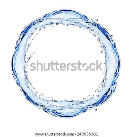 Water splashing shaped as round frame isolated on white - stock photo