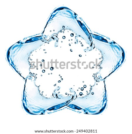 Water splashing shaped as star isolated on white