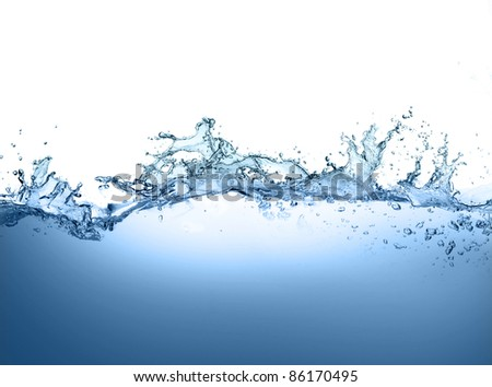 water splashing with bubbles - stock photo