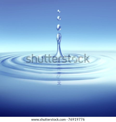 Water splashing with clean blue liquid ripples representing the concept of a clean and fresh environment. - stock photo