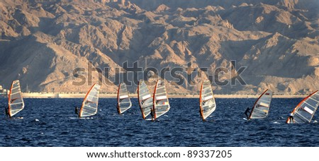 Water sport activities at the Aqaba gulf (Red Sea) near Eilat, Israel - stock photo
