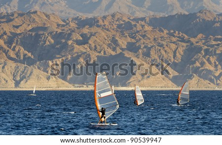 Water sport and recreation activities in the Aqaba gulf (Red Sea), Eilat, Israel - stock photo