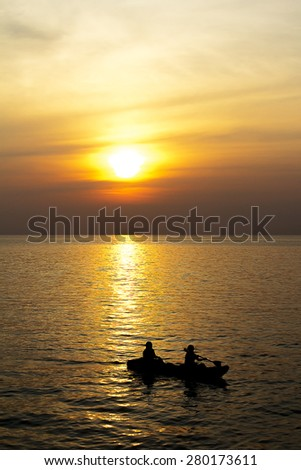 Water sports evening silhouette. - stock photo