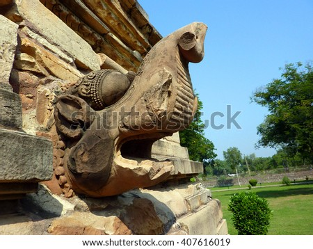 Water spout in the shape of a mythical beast, Kandariya Mahadeva Temple at Khajuraho in India, Asia