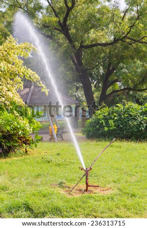 Water Sprinkler in public park.