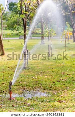 Water Sprinkler in public park - stock photo