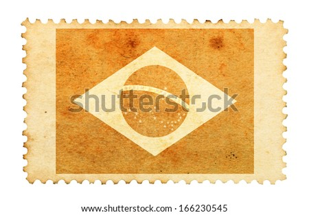 Water stain mark of Brazil flag on an old retro brown paper postage stamp.  - stock photo