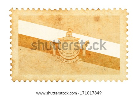 Water stain mark of Brunei flag on an old retro brown paper postage stamp.  - stock photo