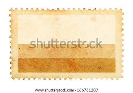 Water stain mark of Colombia flag on an old retro brown paper postage stamp.  - stock photo