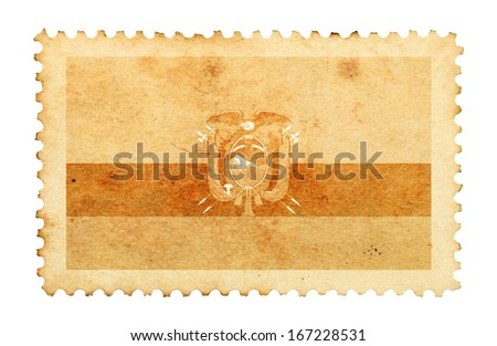 Water stain mark of Ecuador flag on an old retro brown paper postage stamp.  - stock photo