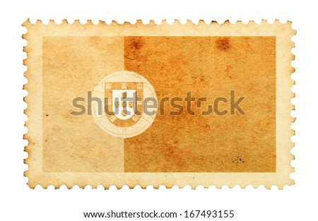 Water stain mark of Portugal flag on an old retro brown paper postage stamp.  - stock photo