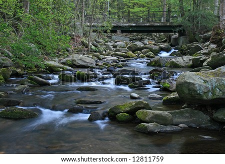 Water streams and cascades in the Great Smoky Mountain National Park - stock photo