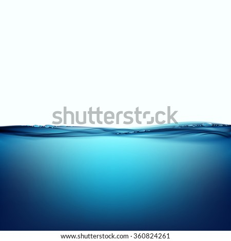 Water surface isolated on white background. Stock illustration. - stock photo