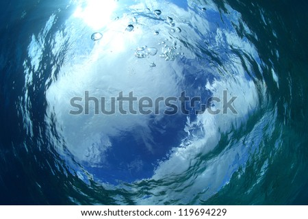 Water surface of the ocean - stock photo