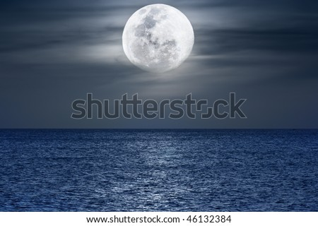 Water surface under moonlight at nighttime. Pacific Ocean - stock photo