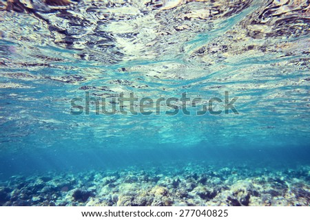 Water surface viewed from the seabed - stock photo