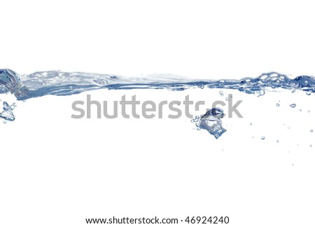 water surface with bunches of bubbles floating up