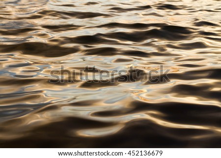 Water surface with light of sunset.