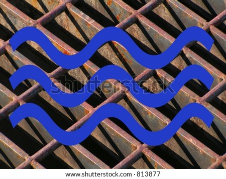 WATER SYMBOL OVER BACKGROUND OF DRAINAGE GRATE - stock photo
