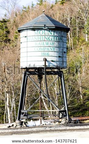 water tank, Mount Washington Cog Railway, Bretton Woods, New Hampshire, USA - stock photo