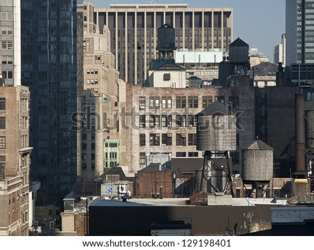 Water Tanks on Top of New York Buildings - stock photo
