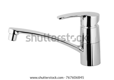 Water tap, chrome-plated metal faucet for the bathroom, kitchen mixer cold hot water. Isolated on a white background