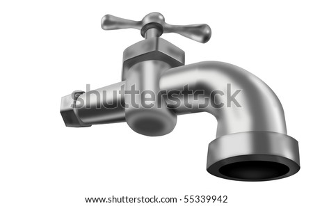 water tap faucet valve isolated on white potable tapwater closed 3D illustration plumbing running water drinkable water isolated on white