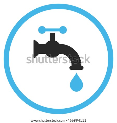 Water Tap glyph icon. Style is bicolor flat rounded iconic symbol, water tap icon is drawn with blue and gray colors on a white background.