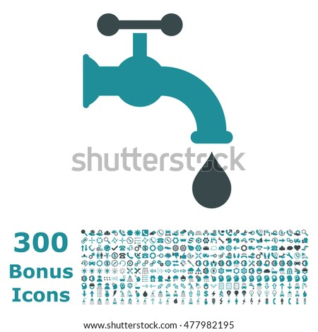 Water Tap icon with 300 bonus icons. Glyph illustration style is flat iconic bicolor symbols, soft blue colors, white background.
