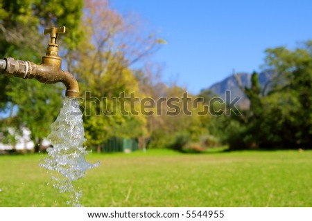 Water tap in park. Shot in August in Jan Marais Nature Reserve, Stellenbosch, South Africa. - stock photo