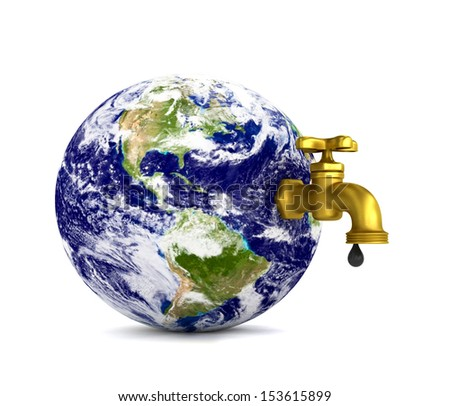 Water tap on planet Earth dripping with oil isolated on white. Elements of this image furnished by NASA - stock photo