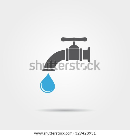 Water tap with water drop icon