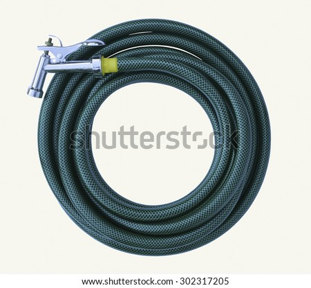 Water taps and green garden hose with a sprayer on a white background - stock photo