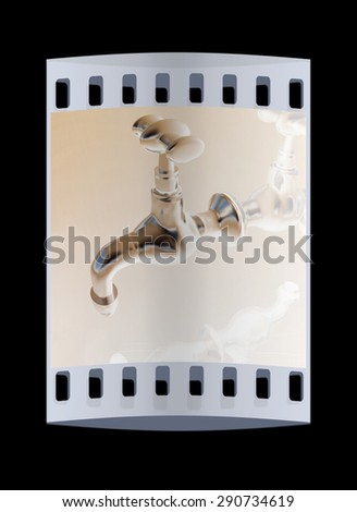 Water taps on a reflective background. The film strip - stock photo