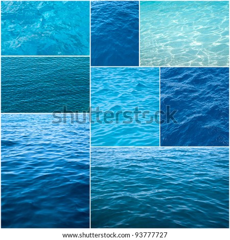 Water textures collage - stock photo