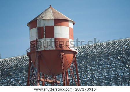Water Tower and Frame of Hangar One - stock photo