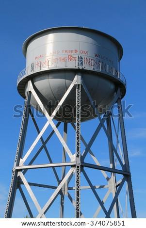 Water Tower at Alcatraz Island - stock photo