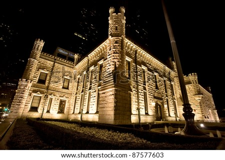 Water Tower Chicago Night Photography Downtown - stock photo