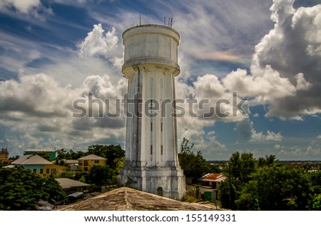 Water Tower in Nassau, Bahamas. This is a main tourist attraction and is the tallest structure in Nassau. It is 126ft (38.5m) tall and provides a marvelous panoramic view of Nassau.