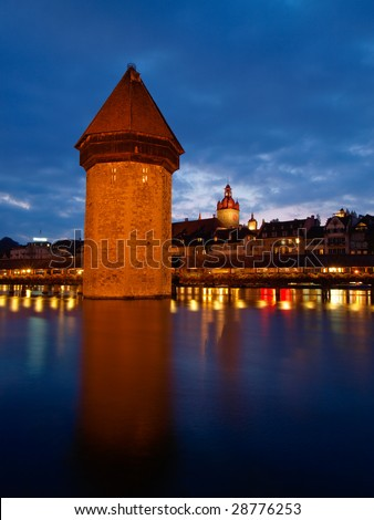 Water tower in the river, Lucerne, Switzerland